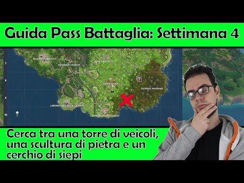 """Sfide Pass Battaglia Settimana 4: Cerca tra una torre di veicoli, una scultura di roccia e """"altro"""""""