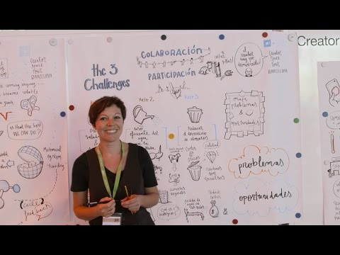 Graphic recording of the Summit of Creator Space tour Barcelona by artist María Calvet