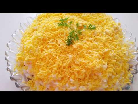 Нежный рыбный салат. Слоёный салат из рыбных консервов. Готовим с Инной Просто Вкусно и Быстро