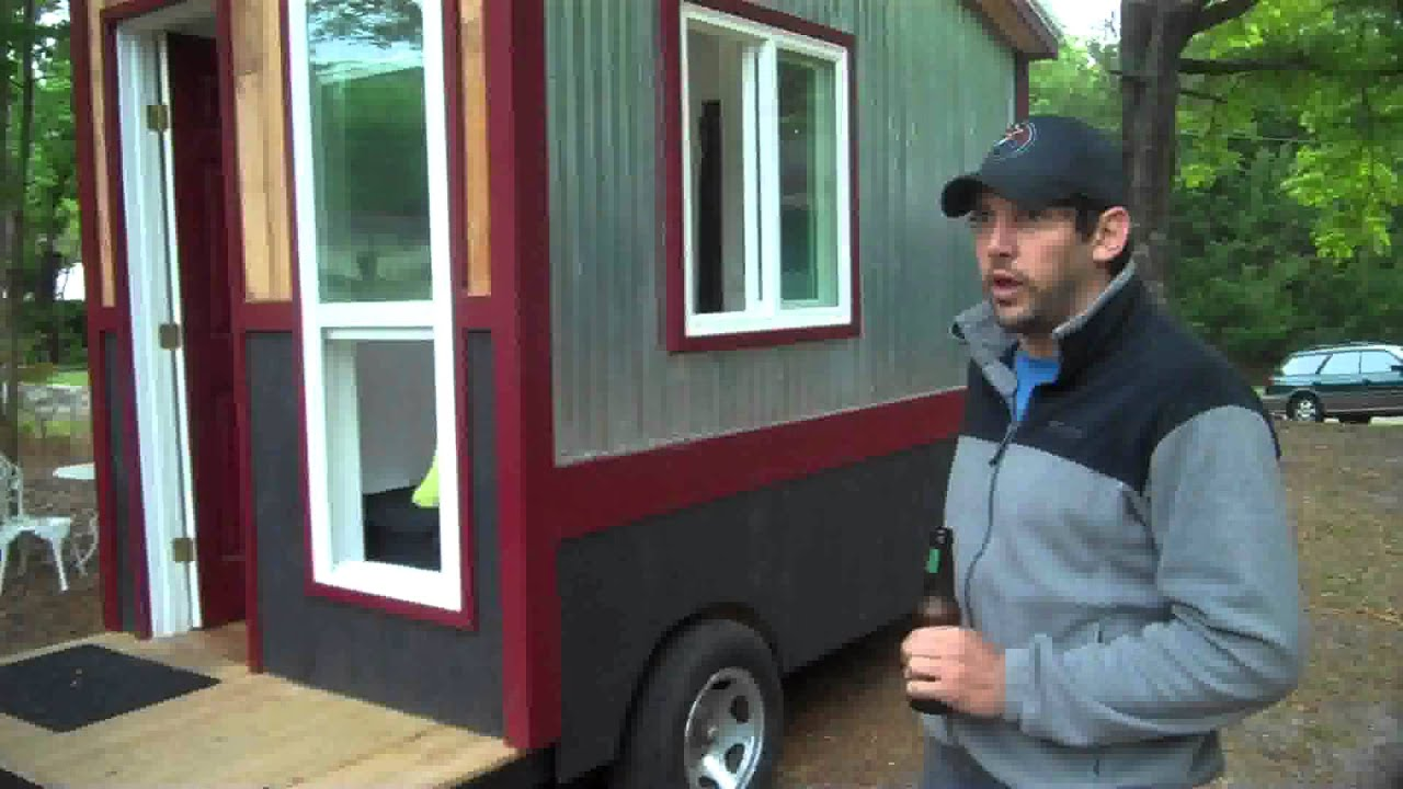 A 60 square foot tiny house camper cabin on wheels with a shower toilet and kitchen youtube - Calculating square footage of a house pict ...
