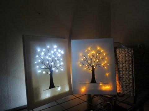 캔버스 트리 조명 만들기 illumination / interior decoration - YouTube