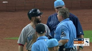 BOS@HOU: Benches get warning after Pedroia is hit