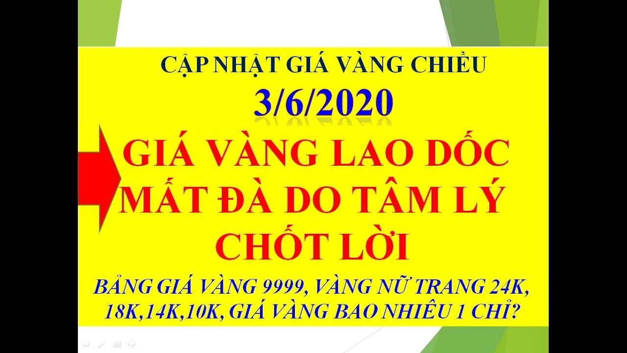 GIÁ VÀNG CHIỀU NGÀY 3/6/2020 LAO DỐC MẤT ĐÀ DO TÂM LÝ CHỐT LỜI