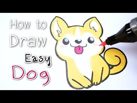 "HOW TO Easy DRAW : Cute Dog. ★สอนวาด ""สุนัข"" ง่ายๆ น่ารักๆ ★Kawaii Cartoon Characters✿"