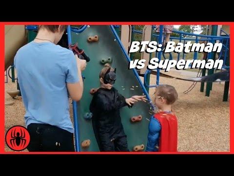 BTS: Batman v Superman Superheroes battle in real life movie | SuperHero Kids BTS 4