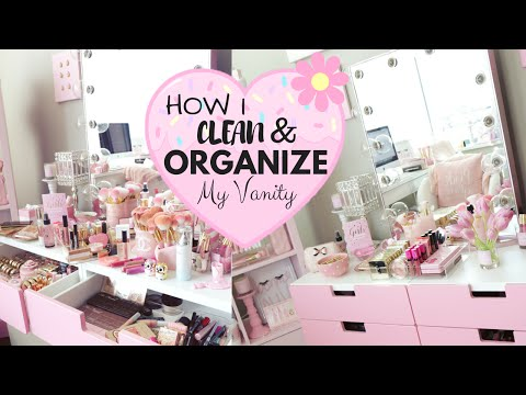How I Clean And Organize My Makeup Vanity!♥ -SLMissGlam♥♥