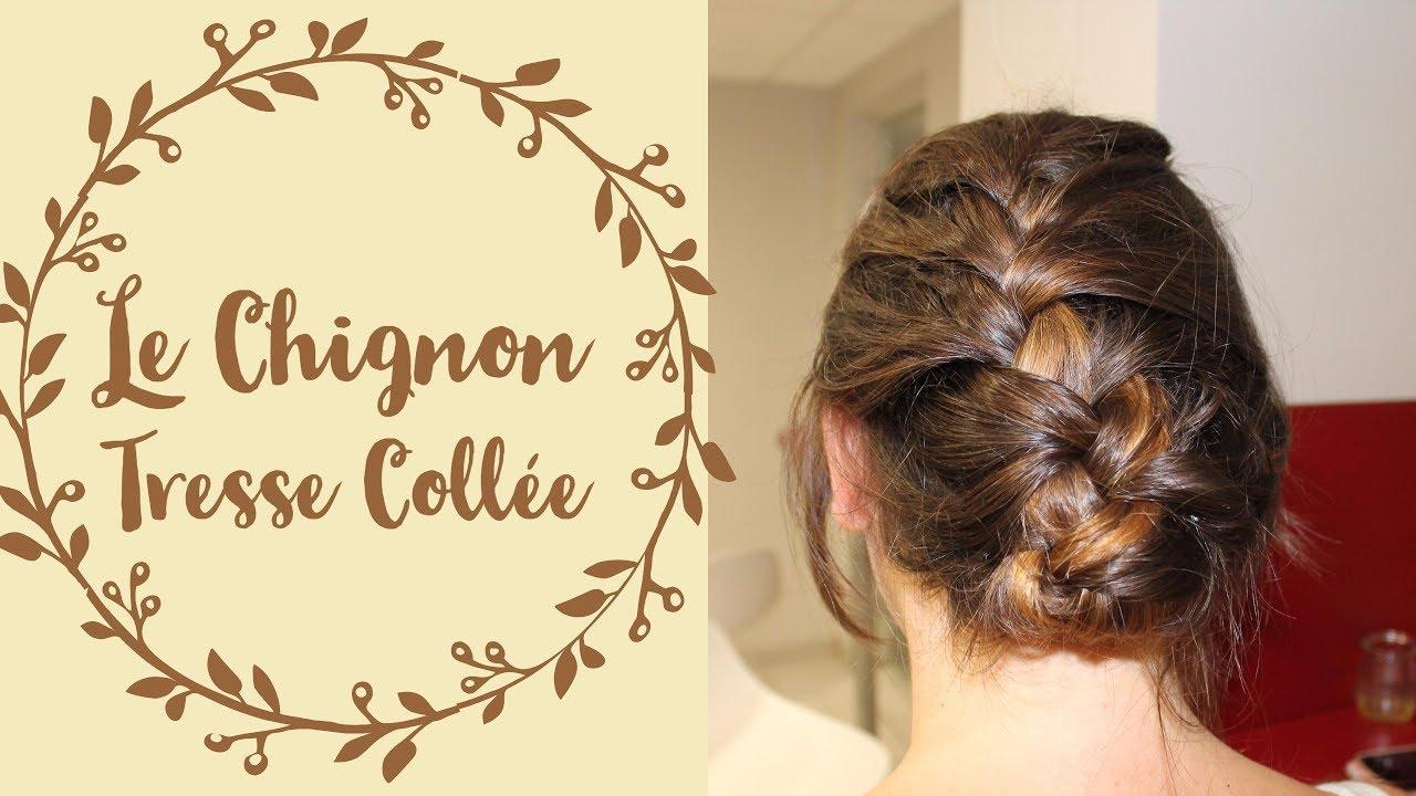 Le chignon tresse collée / Coiffure spéciale cheveux courts-mi longs & raides - YouTube