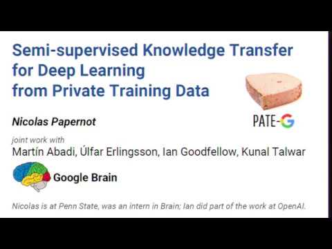 ICLR oral - Semi-supervised Knowledge Transfer for Deep Learning from Private Training Data
