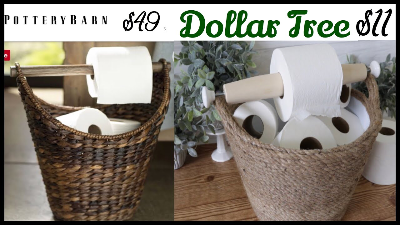Dollar Tree Toilet Paper Storage Pottery Barn Dupe Youtube