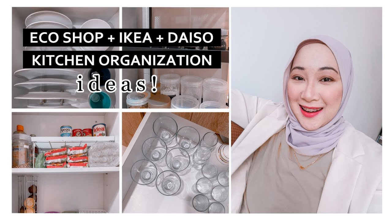 Eco Shop + Ikea + Daiso Kitchen Organization Ideas! Simple & Kemas   Aisha Mohd