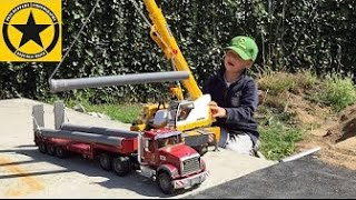 BRUDER TRUCK mounted LIEBHERR-CRANE Video for Kids: Pipeline Construction (Long Play!)
