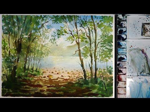 Watercolor Landscape Painting : Riverside Lookout Point