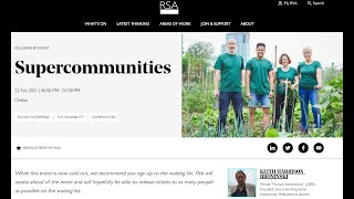 Supercommunities - Talk to the Royal Society of Arts (22 Feb 2021)