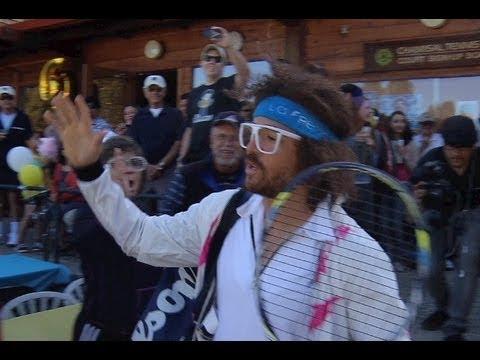 LMFAO Redfoo Plays Tennis Qualifier For U.S. Open