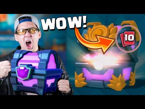 10 CLICKS HUGE CHEST OPENING :: Clash Royale :: ONE MATCH, ONE MAGICAL CHEST!