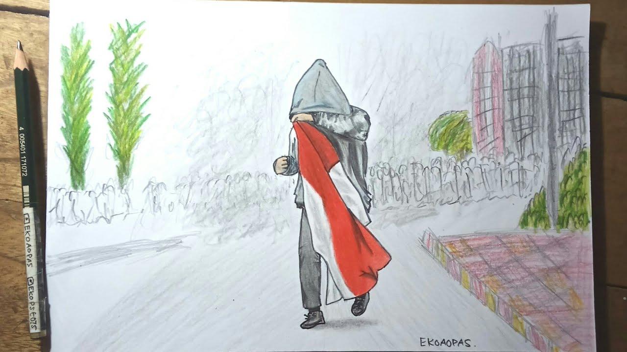 Menggambar Anak Stm Viral Memegang Bendera Merah Putih Youtube