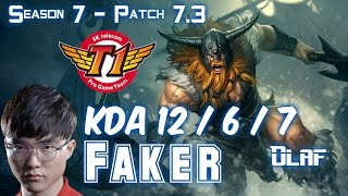 SKT T1 Faker OLAF vs RENEKTON Top - Patch 7.3 KR Ranked
