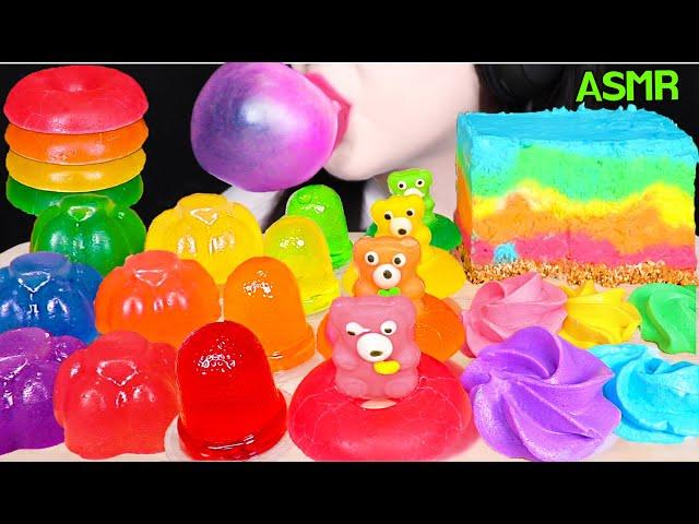 ASMR RAINBOW FOODS *CHEESE CAKE, KOHAKUTO DONUT JELLY, CUP JELLO, BUBBLE GUM 무지개 푸드 먹방 EATING SOUNDS