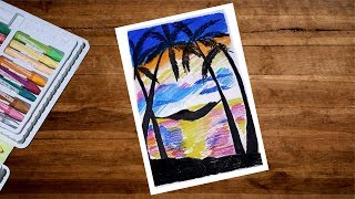 Summer Beach Oil Pastel Drawing | Beach Scenery Drawing With Oil Pastel | Summer Drawing