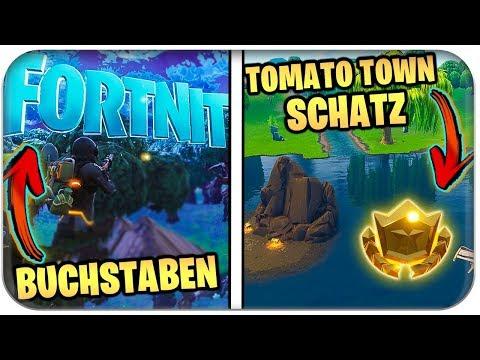 🅰️ ALLE BUCHSTABEN SUCHEN 📍🗺️🌟TOMATO TOWN SCHATZ   Fortnite Season 4 Deutsch German