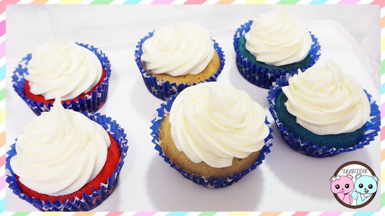 RED VELVET CUPCAKES, BLUE VELVET CUPCAKES USING RUSSIAN BALL PIPING TIPS    SUGARCODER