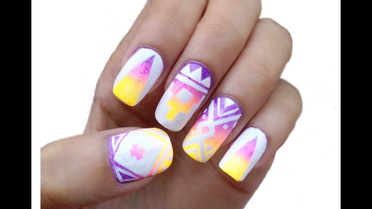 Aztec tribal print nail art tutorial youtube prinsesfo Images