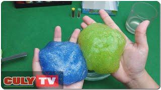 Hướng dẫn làm chất nhờn ma quái kim tuyến lấp lánh xanh đẹp - how to make purl spooky slime kid toy