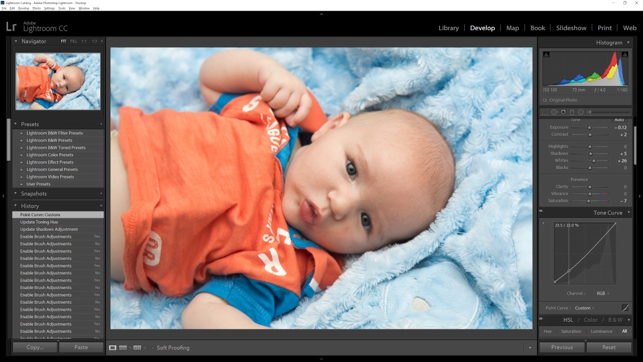 Lightroom editing baby photo