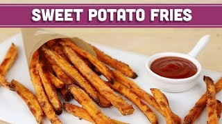 How To Make CRISPY Baked Sweet Potato Fries, Healthy Recipe! Mind Over Munch