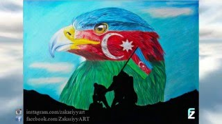 Drawing AZERBAİJAN Flag (Eagle)