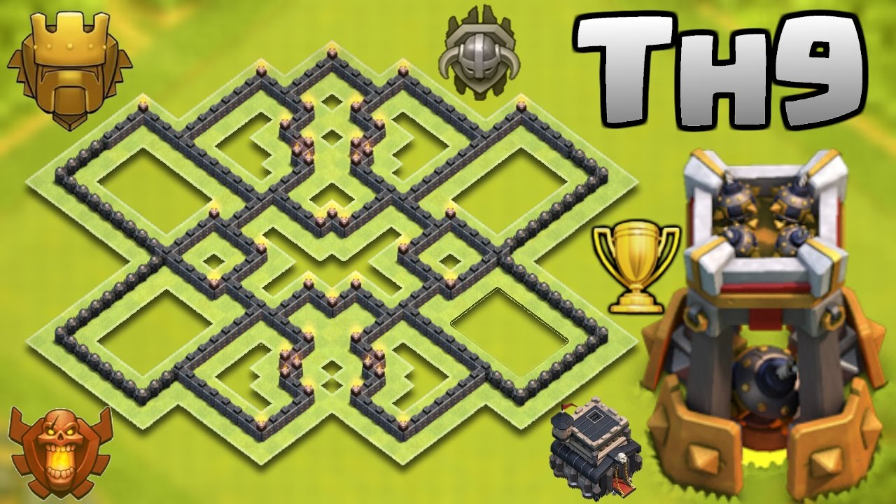 NEW BEST TOWN HALL 9 (TH9) TROPHY BASE WITH BOMB TOWER ...