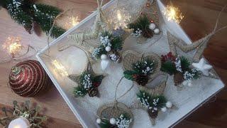 🎄7 ОРИГИНАЛЬНЫХ ИДЕЙ НОВОГОДНИХ ИГРУШЕК из джута/ Christmas/ jute filigree/ home decor/