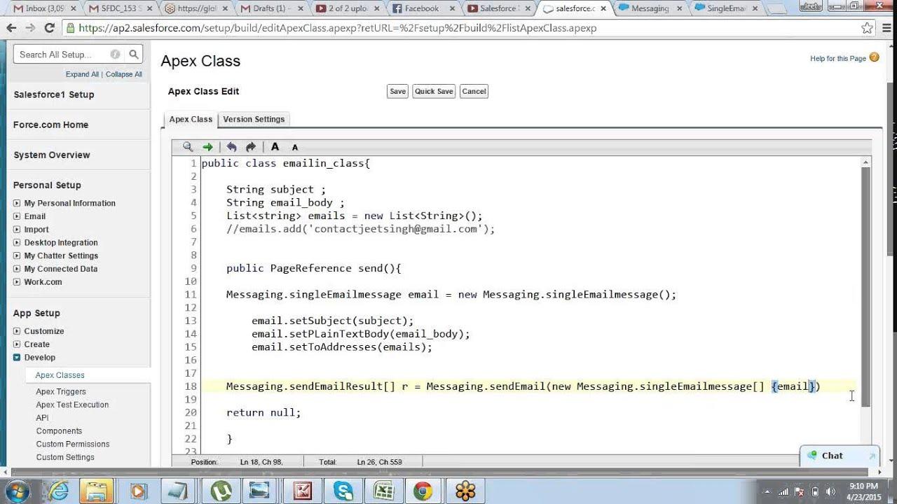 Sending Email Using Apex Visualforce In Salesforce By Jeet Singh
