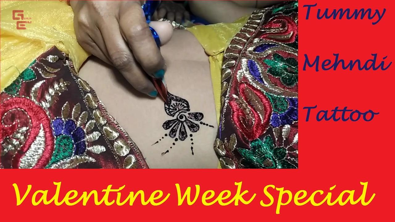 Tummy Mehndi Tattoo For Valentine Week Special Girls Era Youtube