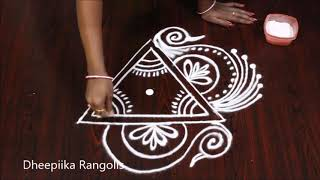 small peacock rangoli design without dots l simple kolam design l latest  muggulu