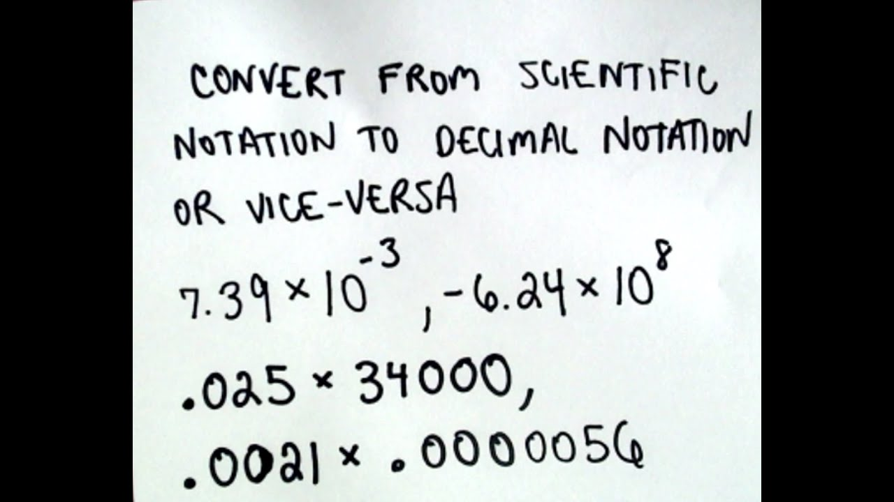 Converting Between Scientific Notation and Decimal Notation - YouTube