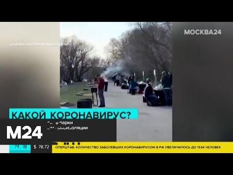 Москвичи выходят в парки вопреки правилам самоизоляции - Москва 24