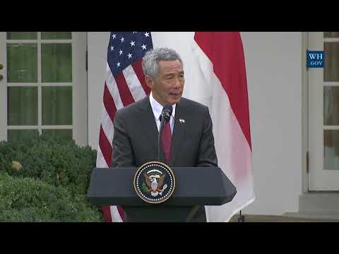 President Trump Gives Joint Statements with Prime Minister Lee Hsien Loong of Singapore