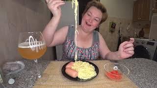 Мукбанг РЕШИЛА пойду в ШОУ БИЗНЕС макароны с сыром сардельки на ужин