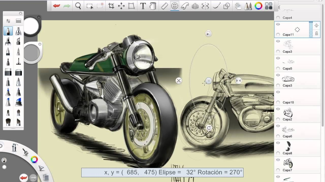 cafe racer 2 - live design - bike sketching - speed paint - part