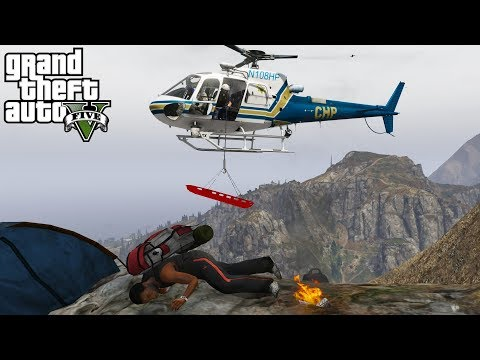 GTA 5 LSPDFR #512 | California Highway Patrol Helicopter Rescues Hiker Stuck On A Mountain Cliff