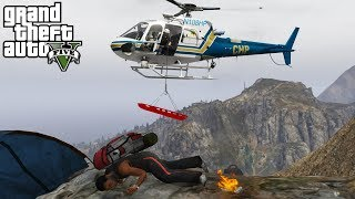 GTA 5 LSPDFR #512   California Highway Patrol Helicopter Rescues Hiker Stuck On A Mountain Cliff
