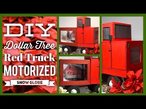 DIY Red Truck Motorized Christmas Snow Globe - Falling Snow Box - Dollar Tree Christmas Decor