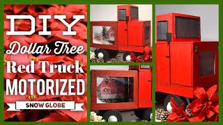 DIY Red Truck Motorized Christmas Snow Globe - Falling Snow Box - Dollar Tree Christmas Decor