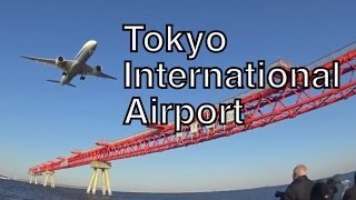 Tokyo International Airport airplane landing in Japan羽田飛行機着陸風景