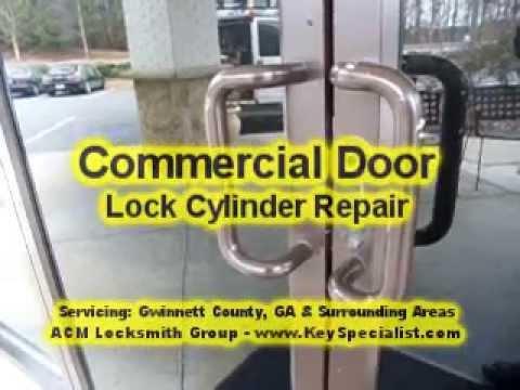 Atlanta GA: Commercial Storefront Door Lock Repaired! - YouTube
