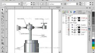 CorelDraw 9 for PC Scenario -layer object manager - technical drawing