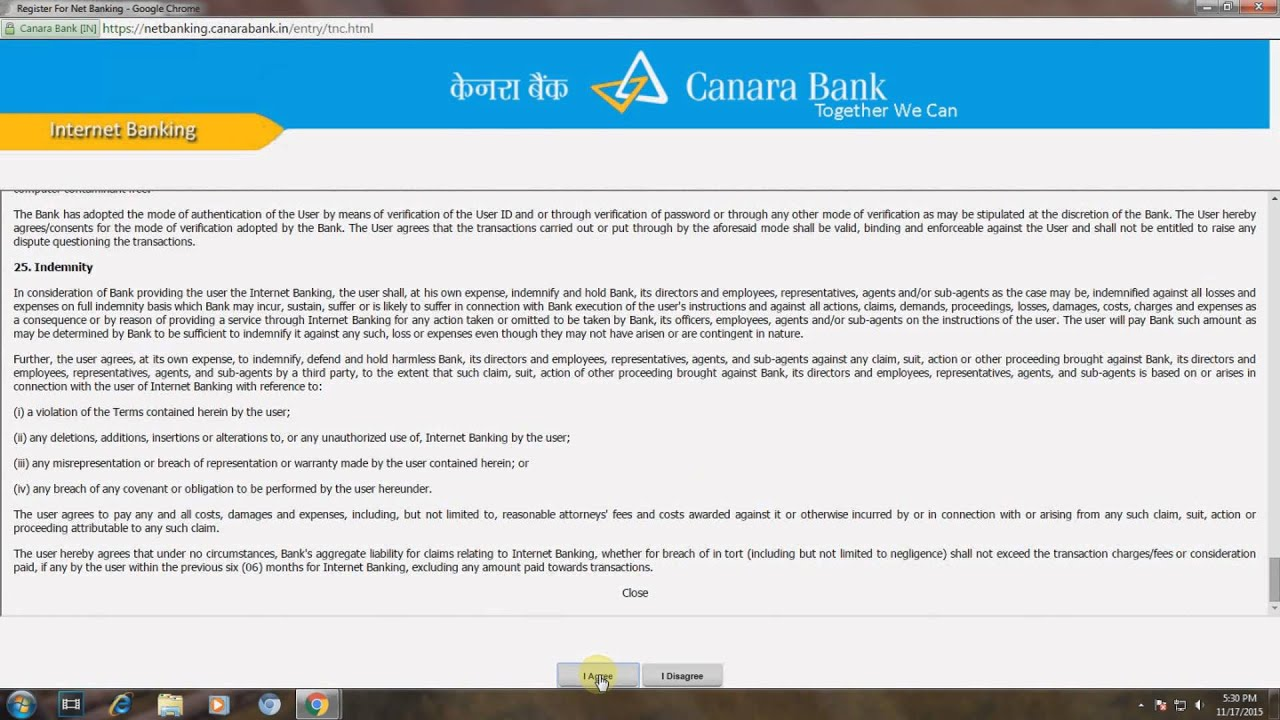 canara bank online apply for net banking