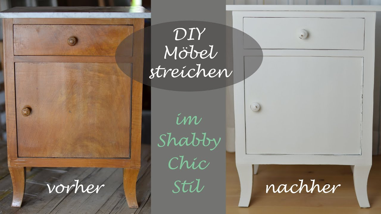 diy shabby chic stil altes schr nkchen mit wei er kreidefarbe streichen youtube. Black Bedroom Furniture Sets. Home Design Ideas