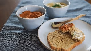 고소한 토마토와 갈릭 치즈 바질 비건 스프레드